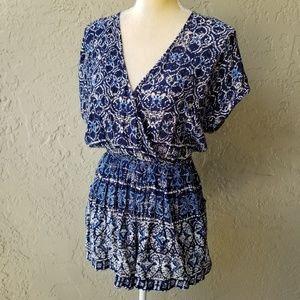 Angie   Blue Print Surplice Shorts Romper